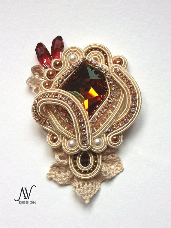 Marquise  soutache embroidered brooch by AnnetaValious on Etsy, $195.00 - even a bit of crochet