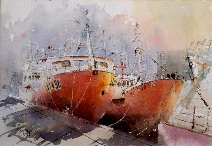 Barcos rojos atracados