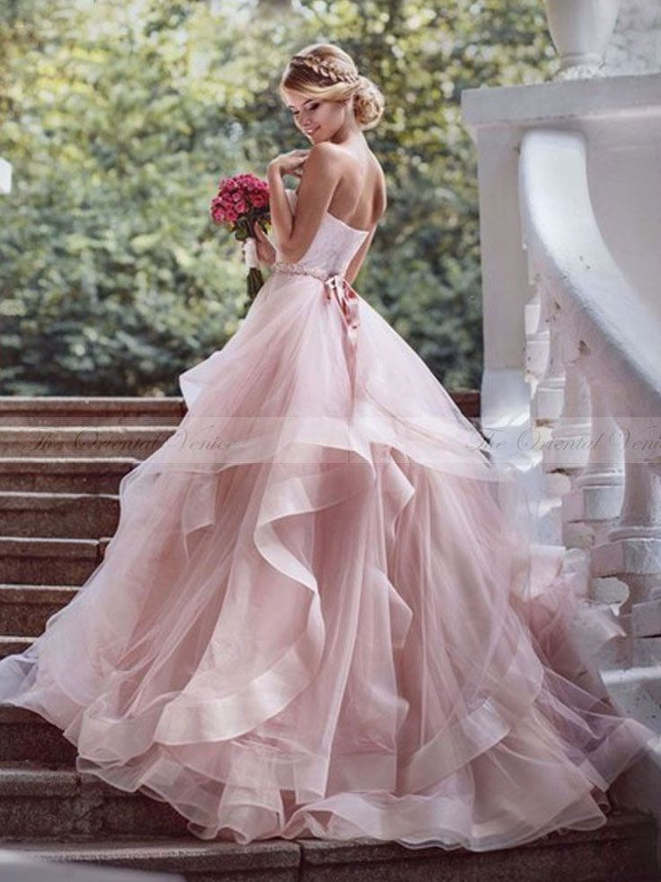 Gorgeous A-line Strapless Pink Long Wedding Dress(Long Prom Hair)