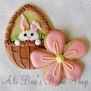 fun cookiesFlower Cookies, Ali Bees, Easter Bunnies, Decor Cookies, Baking Shops, Easter Eggs, Easter Cookies, Decor Sugar Cookies, Easter Ideas