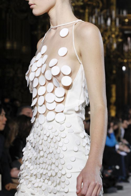 White dress with sheer bodice & mixed appliqué circles; fashion details // Stella McCartney FW11