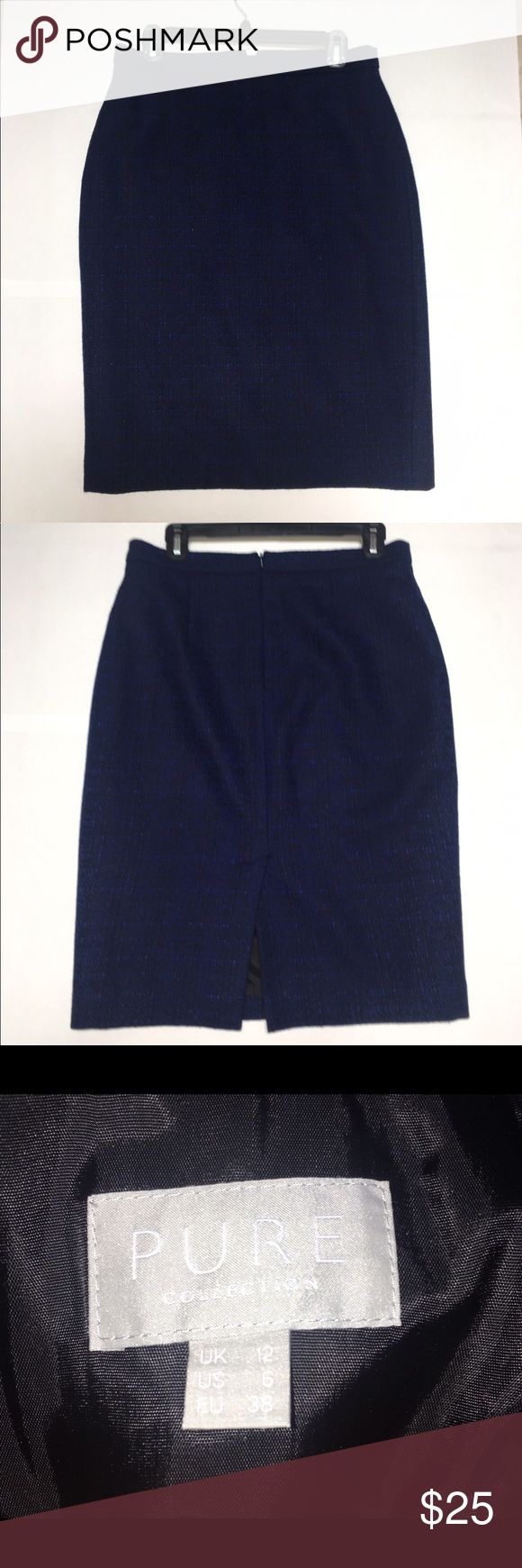 Pure Collection Navy Blue Pencil Skirt This dark blue, wool pencil skirt has black undertones. This skirt is great for work because of its professional silhouette. Pure Collection Skirts Pencil