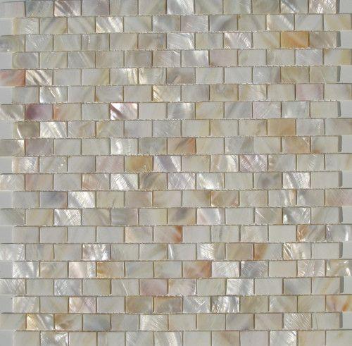 this mother-of-pearl backsplash tile with gold undertones: Backsplash Tile, Bathroom Vanities, Pearls Tile, Fireplaces Surroundings, Master Bath, Mothers Of Pearls Backsplash, Mosaic Tiles, Mosaics Tile, Bathroom Remdel