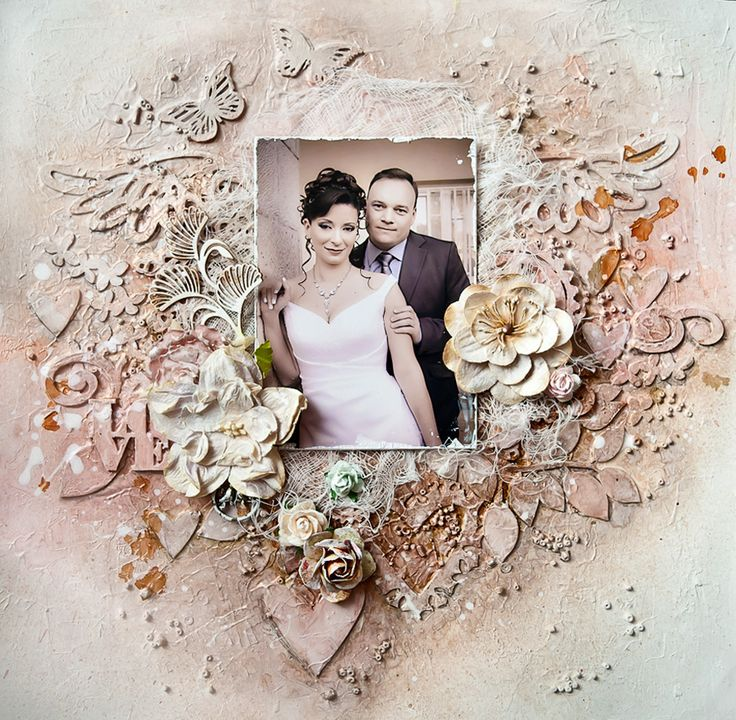 Mixed media wedding page with molding paste stenciling, chipboard die cuts, dimensional flowers and cheesecloth matting...amazing textures!