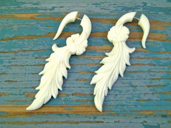 Fake Gauge Earrings Bone Earrings Hibiscus Flower Organic Natural Tribal Earrings