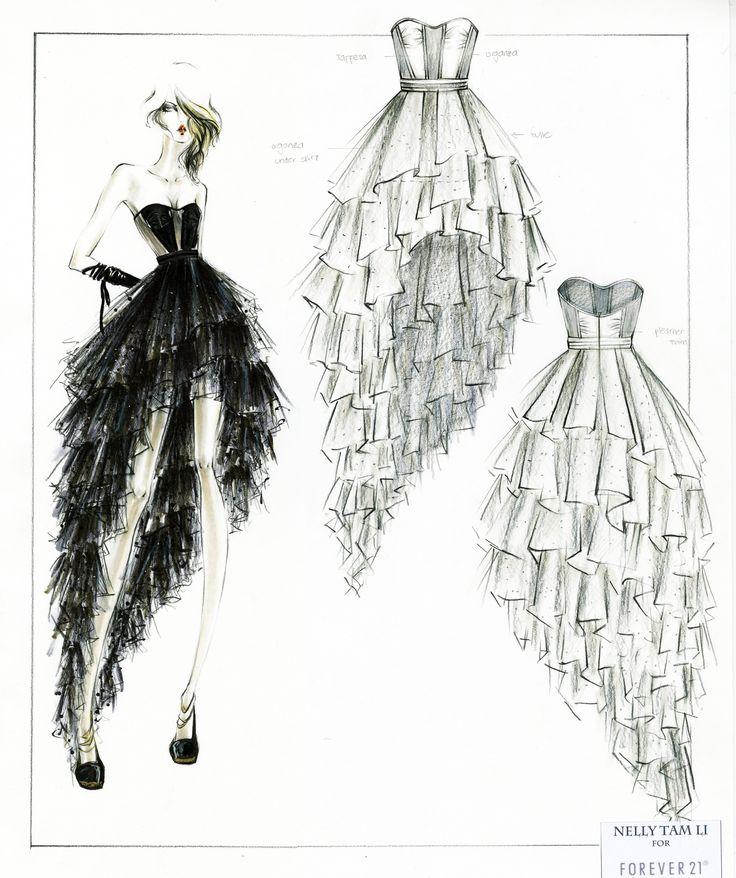 Line Art Fashion Design : Best sketch a dress images on pinterest designer prom