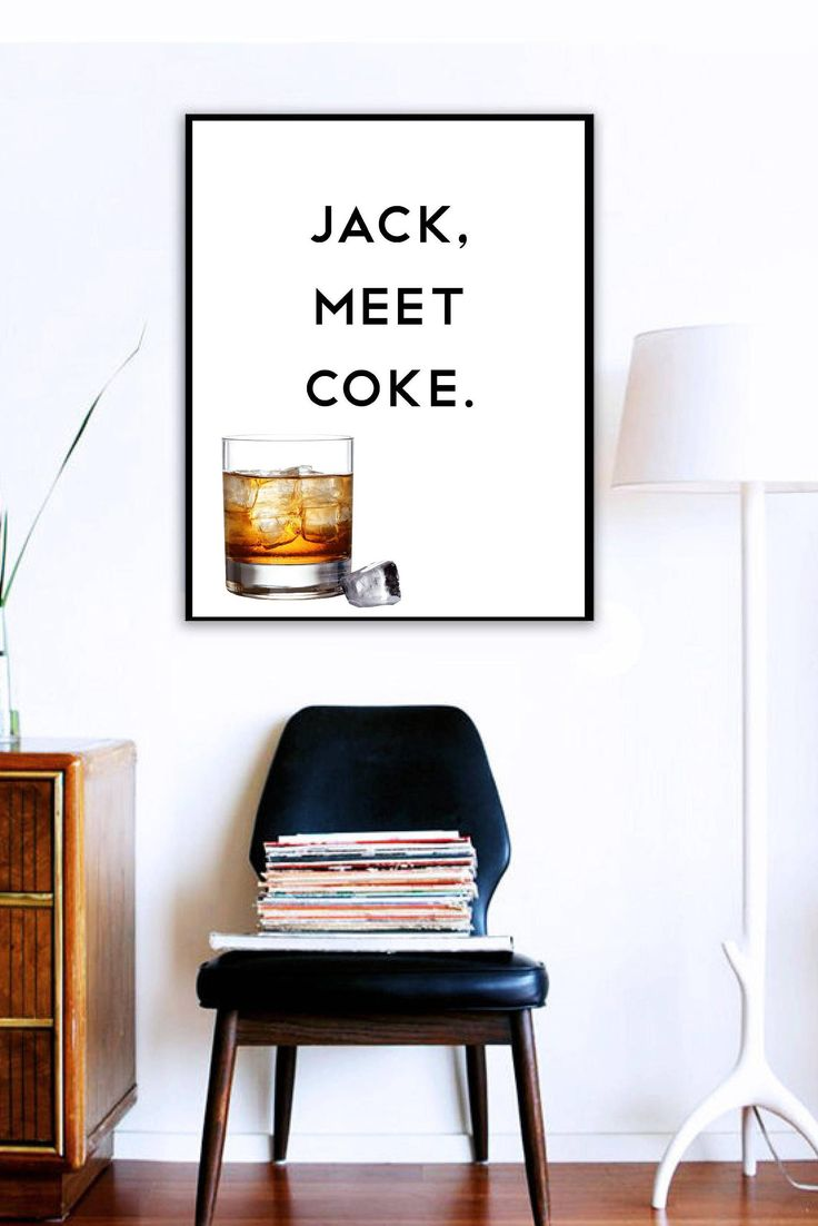 JACK, MEET COKE // Minimalist Art, Quote Prints, Typography Poster, Whiskey Poster, Jack Daniels Wall Decor, Printable, Coke Wall Art Prints by ThatMugShot on Etsy
