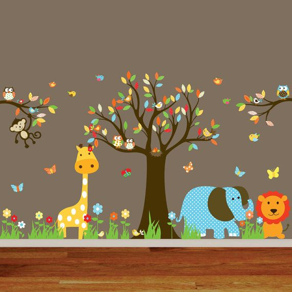 Jungle Safari Wall Decal Nursery Playroom Owl Tree Bird Vinyl Wall Art Decals Mural flowers butterflies