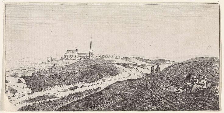 Jan van de Velde (II) | Duinlandschap bij Zandvoort, Jan van de Velde (II), 1627 | Rustend paar met een hond en twee wandelaars in de duinen bij Zandvoort. Op de achtergrond een kerk. Vermoedelijk in de beschadigde hoek rechtsonder voorheen genummerd: 10.