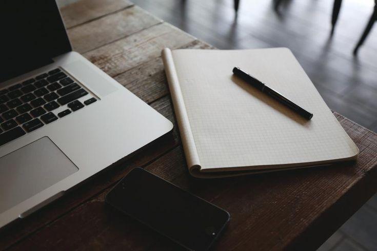 macbook, laptop, computer, table, notepad, graph paper, pen, technology, business