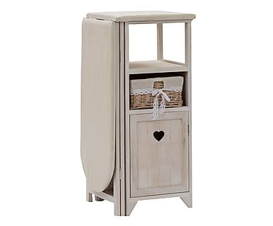 Asse da stiro a 1 anta e 1 cesta in legno bianco e naturale, 110x87x36 cm