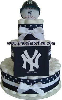 yankee theme baby shower | NY Yankees Diaper Cake - Baby Shower Gift
