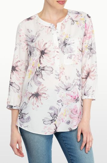 NYDJ's Printed 3/4 Sleeve Blouse features a beautiful floral Early Spring Bouquet print. Pair this flattering silhouette with your favorite NYDJ's for a stylish everyday look. With a front chest pocket, and pretty pleating at the back.
