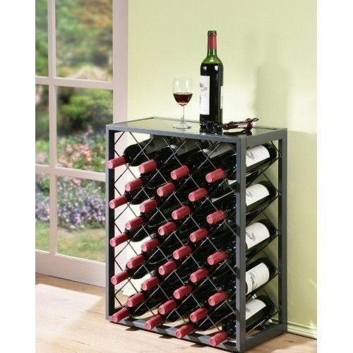 Metal-Wine-Rack-Bottle-Holder-Bar-Glass-Storage-Black-Floor-Standing-Shelf-Table