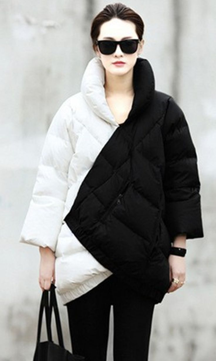 Europe And The United States Women's Black And White Coak Stitching Down Jacket tType Asymmetric Winter Coat