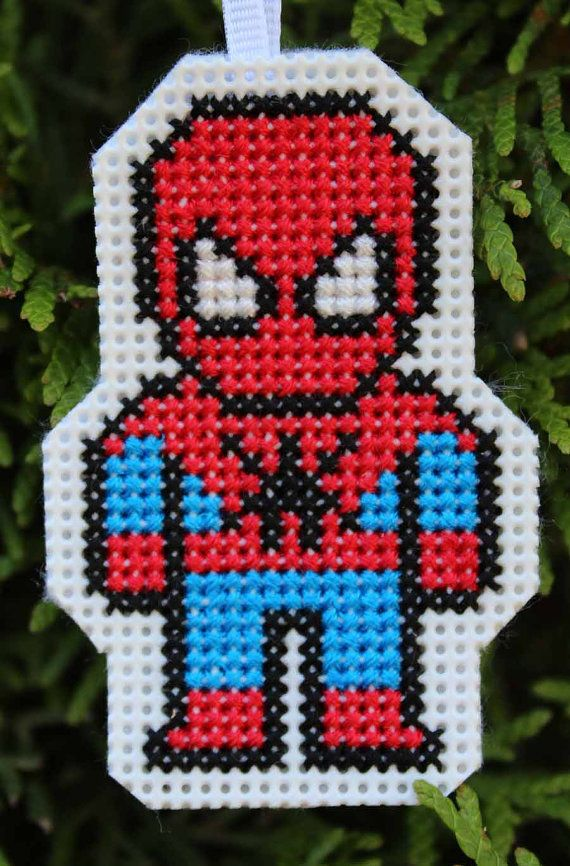 Handmade Spiderman Cross Stitch Ornament by IttyBrittyNeedle