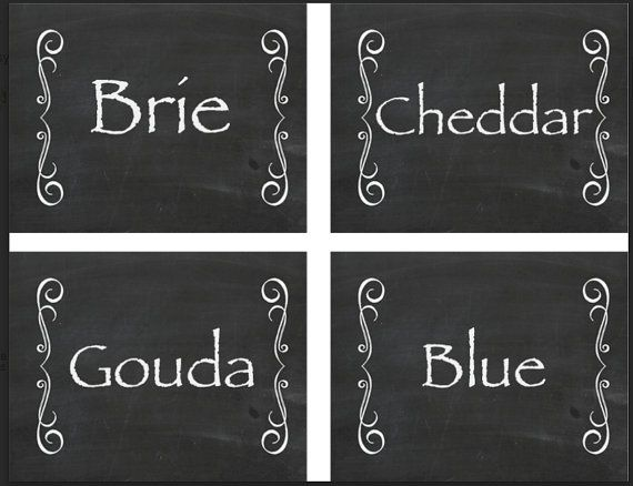 Cheese Labels Cheese names DIY Printable by TheSweetSignShop