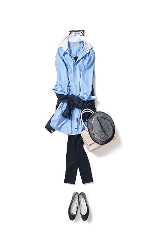 王道シャツスタイルの春バージョン