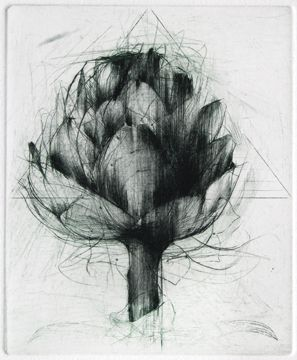 """Jake MUIRHEAD """" Artichoke """"  drypoint. Looks like a drypoint on top of another plate that has been partially sanded down."""