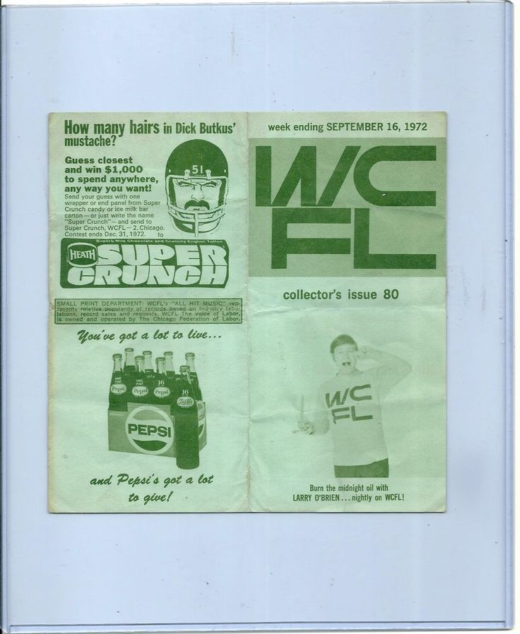 SOLD - Vintage WCFL Radio Chicago Top 40 Survey w/ DICK BUTKUS contest on back BEARS