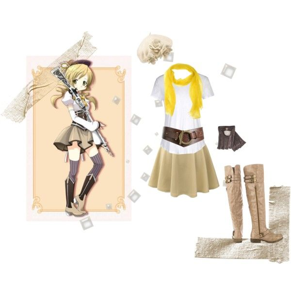 Mami Tomoe Casual Cosplay by psychometorzi on Polyvore featuring James Perse, LE3NO, JustFabulous, Blue Les Copains, Betmar and Henri Bendel