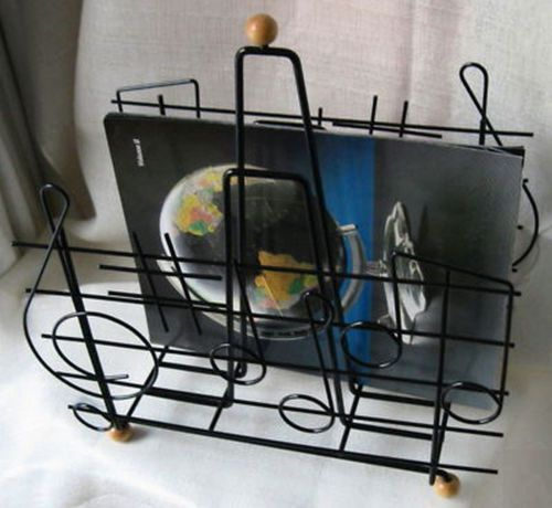 1970u0027S Eames Style Moderne Retro Music Note Magazine Rack In Steel Wire