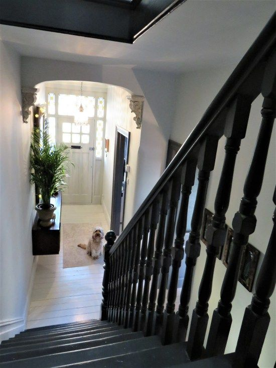 Entrace hallway, Victorian terrace hallway, black painted staircase, Farrow & Ball Railings, white painted floors, London terrace entrance.
