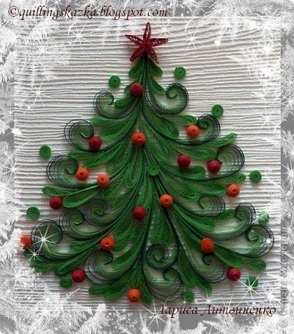 Поделка, изделие Квиллинг: Ёлочка Бумажные полосы Новый год, Рождество. Фото 1