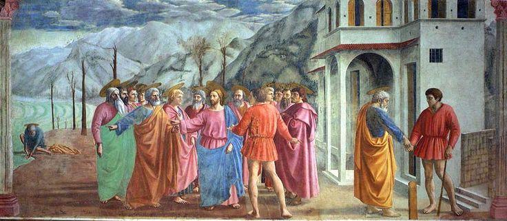 1425/1428-Il Tributo di Masaccio presenta dei retaggi medioevali come la presenza di molti personaggi, ma riporta dei temi in continuità con le innovazioni giottesche come il paesaggio aspro e la quinta scenica dell'architettura. Gli apostoli si distribuiscono nello spazio in modo ellittico, su vari piani di profondità. Il chiaroscuro delle vesti e la raffigurazione prospettica delle aureole dei santi contribuiscono alla creazione della profondità come nell'affresco del Compianto del Cristo.