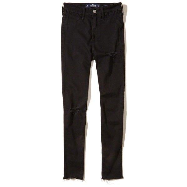 Hollister Ultra High-Rise Jean Leggings (€21) ❤ liked on Polyvore featuring pants, leggings, ripped black, denim leggings, high rise leggings, ripped jeggings, high waisted jean leggings and high rise jeggings