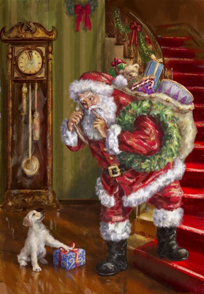 Noël d'antan - Carte ancienne trouvée sur le site : advocate-art.com - Artiste peintre : Marcello Corti (1961-20--) - Né à Bergamo, nord de l'Italie - Porte-folio - «J'ai dessiné le Père Noël dans les endroits les plus étranges ! Sur les plages de Turquie, Grèce, Chypre, Sardaigne ou Maremm, à l'extrême sud de l'Afrique du Sud » - Marcello Corti - XM1390.jpg