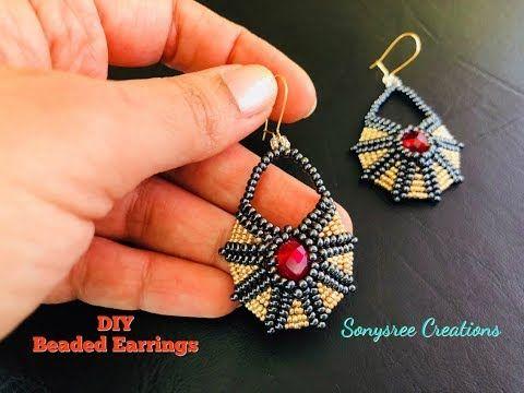 Beaded Earrings Egyptian inspired. Circular Herringbone Stitch - YouTube