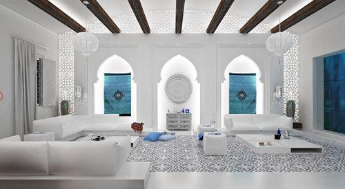 Salon au style marocain ciment blanc style marocain et - Salon oriental blanc ...