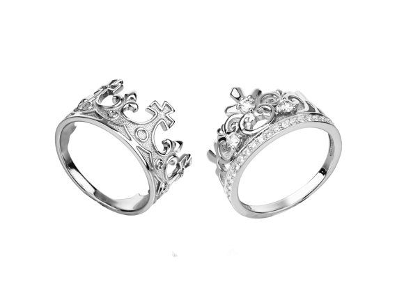 king and queen crown ring set king and queen rings by pureemotion