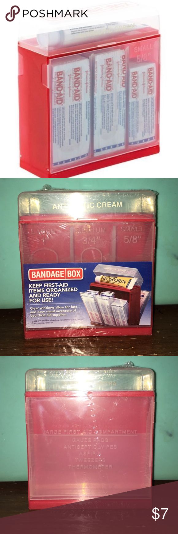 ‼️FINAL PRICE‼️Bandage Box Container ‼️FINAL PRICE‼️Bandage Box Container, first aid kit. Still in plastic wrap. Never opened. Keep first-aid items organized & ready for use! Clear Windows allow for fast & easy visual inventory of your first aid supplies. Originally $10.             ❌No Holds ❌No trades❌ Other
