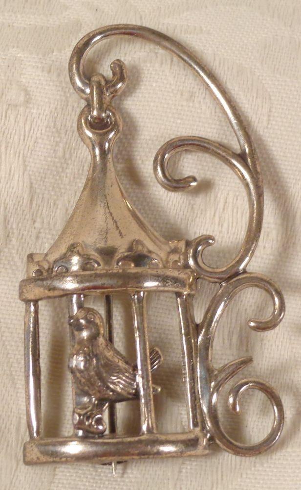 Vintage Designer Signed Lang Sterling Silver Bird Cage Pin ...