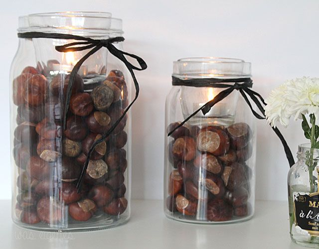 DIY Kastanien Teelichter Deko | diy chestnut decoration | fall crafts & project | waseigenes.com | DIY Blog & Shop