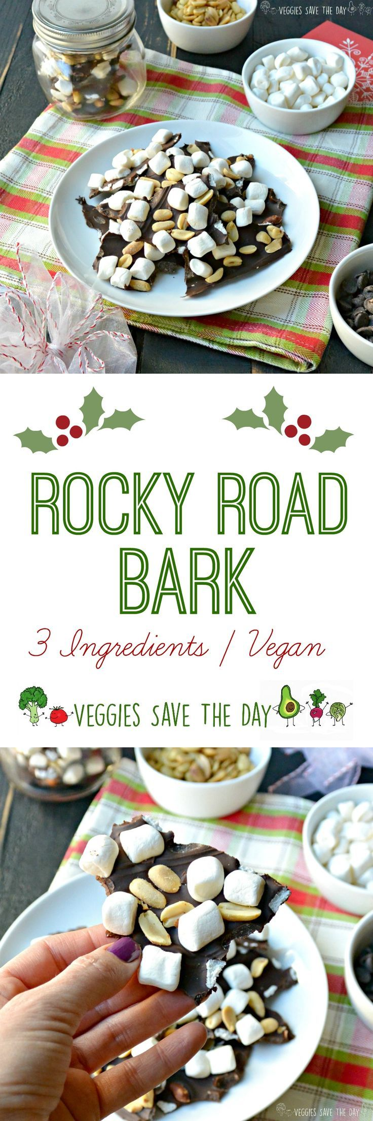 Rocky Road Bark (Vegan) is easy to make with only 3 ingredients! It's a delicious holiday treat and perfect for gift giving.