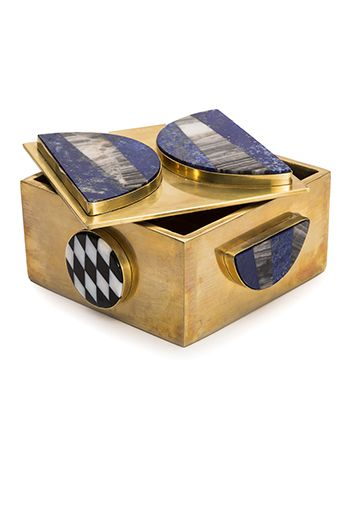 Kelly Wearstler Memphis Bauble Box.  Lapis and agate in unlacquered bronze.  I hand select every stone that goes into my signature bauble boxes. Xk #kellywearstler