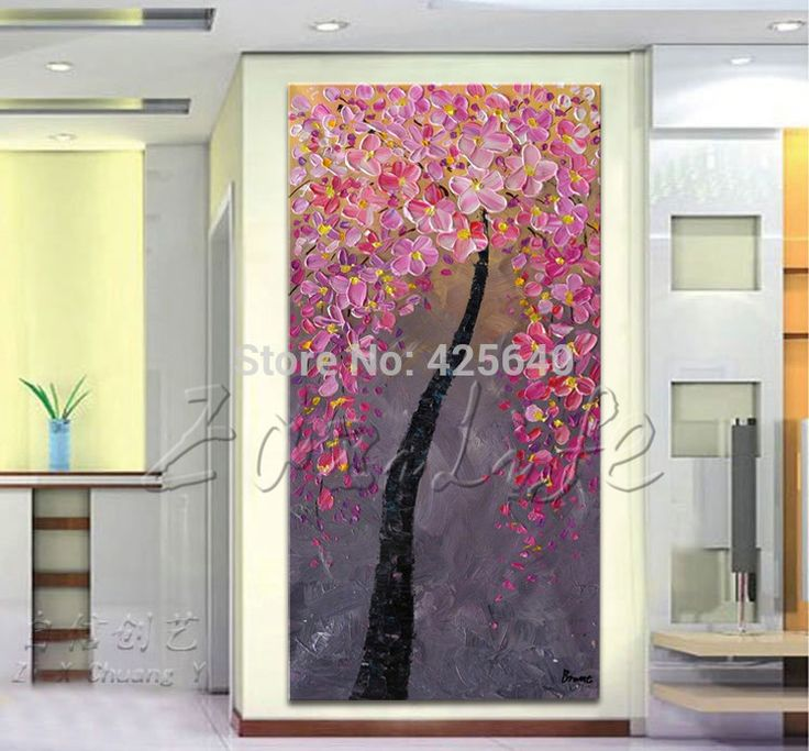 Find More Painting & Calligraphy Information about Oil painting On Canvas Wall Pictures Paintings For Entry Way Canvas Wall Art Palette Knife Hand Painted Pink FLower Tree,High Quality set amp,China decorative plate set Suppliers, Cheap set double from Eazilife Oil Painting on Aliexpress.com