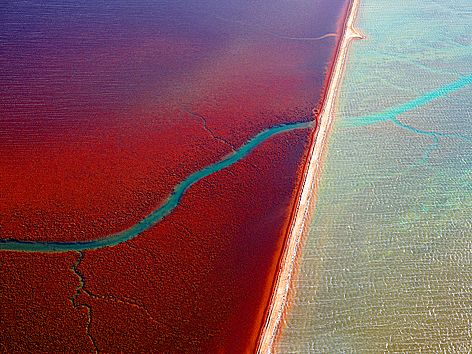 A picture from Christian Fletcher that we purchased on our holiday to western Australia.  These are the water channels into the salt flats in North West Australia