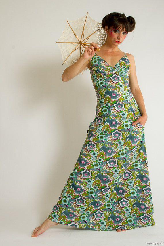 Robe Dyane Yummy robe longue verte retro vintage