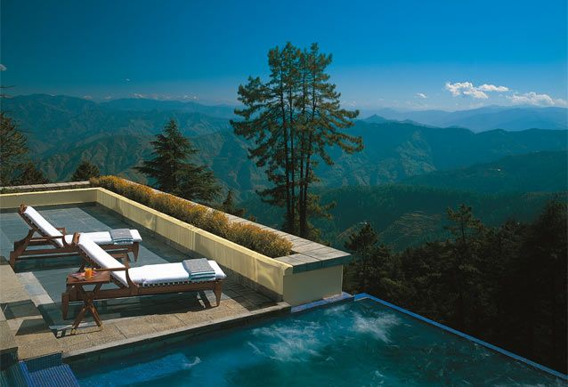 What a breath-taking view from the spa loungers at the Oberoi Wildflower Hotel in Shimla.