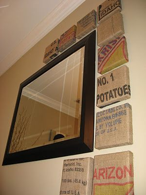 Burlap Potato Sack Wall Art. Stretched over a canvas.