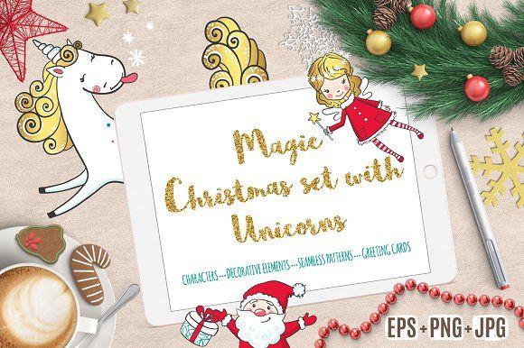 Magic Christmas set with Unicorns by romawka on @creativemarket