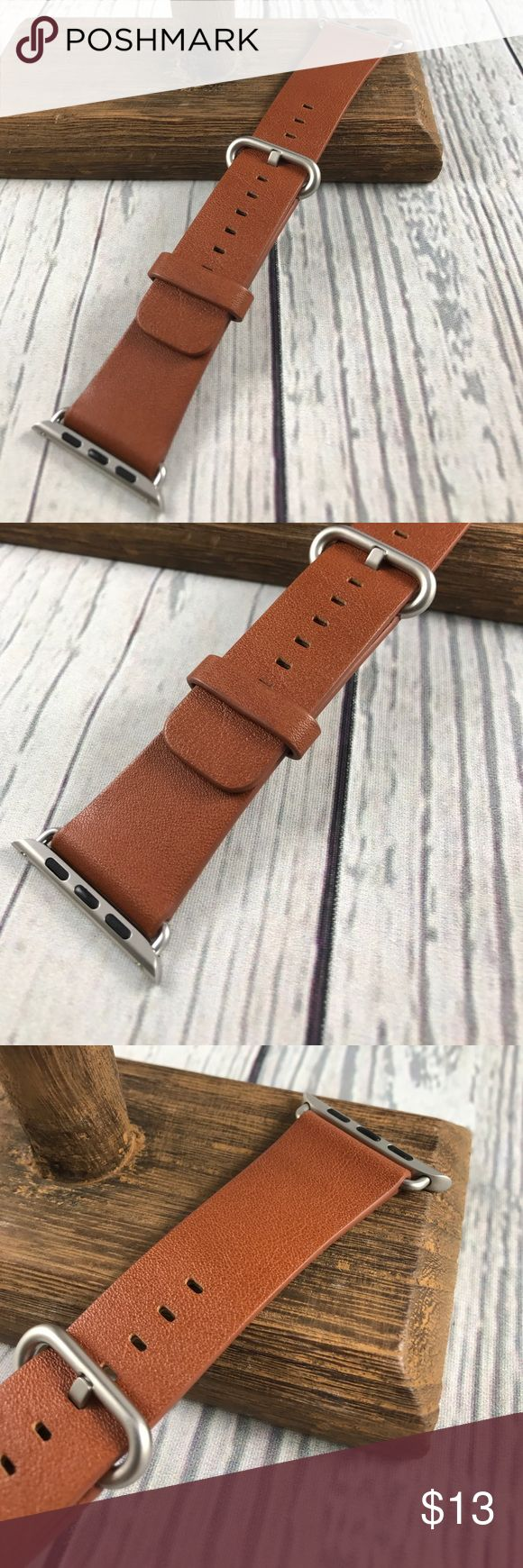 42mm Brown Leather Replacement Band 4 Apple Watch Size medium Large. Very good condition. Not Apple Brand. Generic. Nice brown genuine leather kavaj Accessories Watches