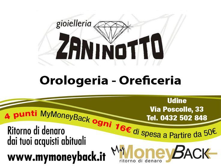 """Dal 1950 #GioielleriaZaninotto offre i più ampi servizi di gioielleria per i suoi clienti : vendita di gioielli, argenteria e orologeria, riparazioni oro-argento, orologi da polso e muro, pendoli, infilatura perle e ritiro oro """"  Grazie a MyMoneyBack hai 4 punti MyMoneyBack ogni 16 € di spesa a partire da 50 € di acquisti!!  Acquista i tuoi gioielli guadagnando punti da cambiare in denaro contante! @Gioielleria Zaninotto  #MyMoneyBack"""