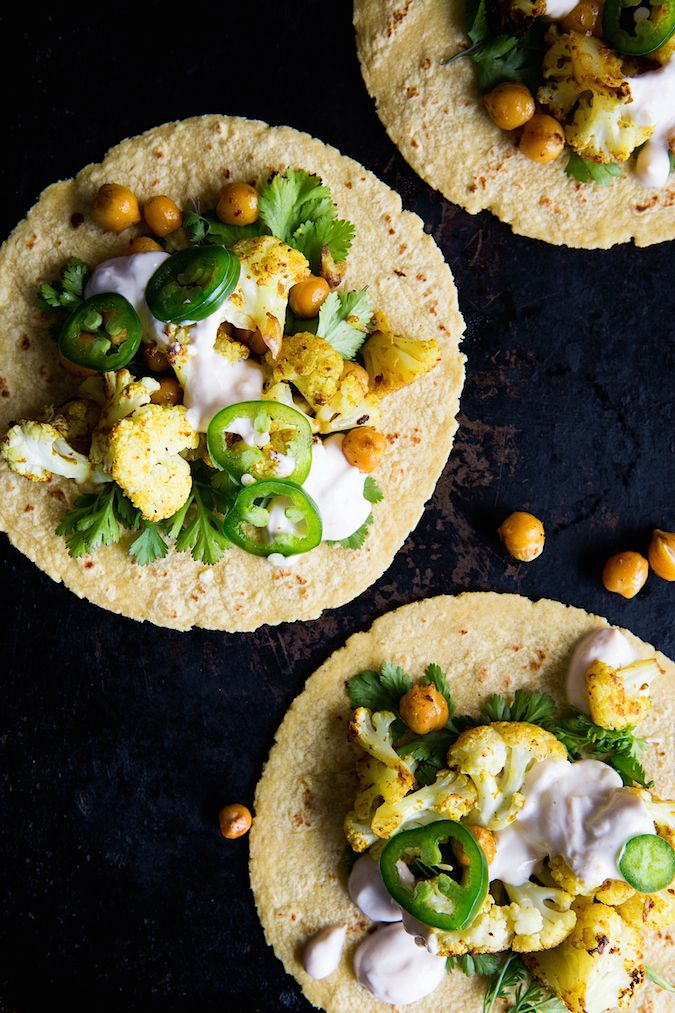Curry Cauliflower Tacos Could easily make this vegan
