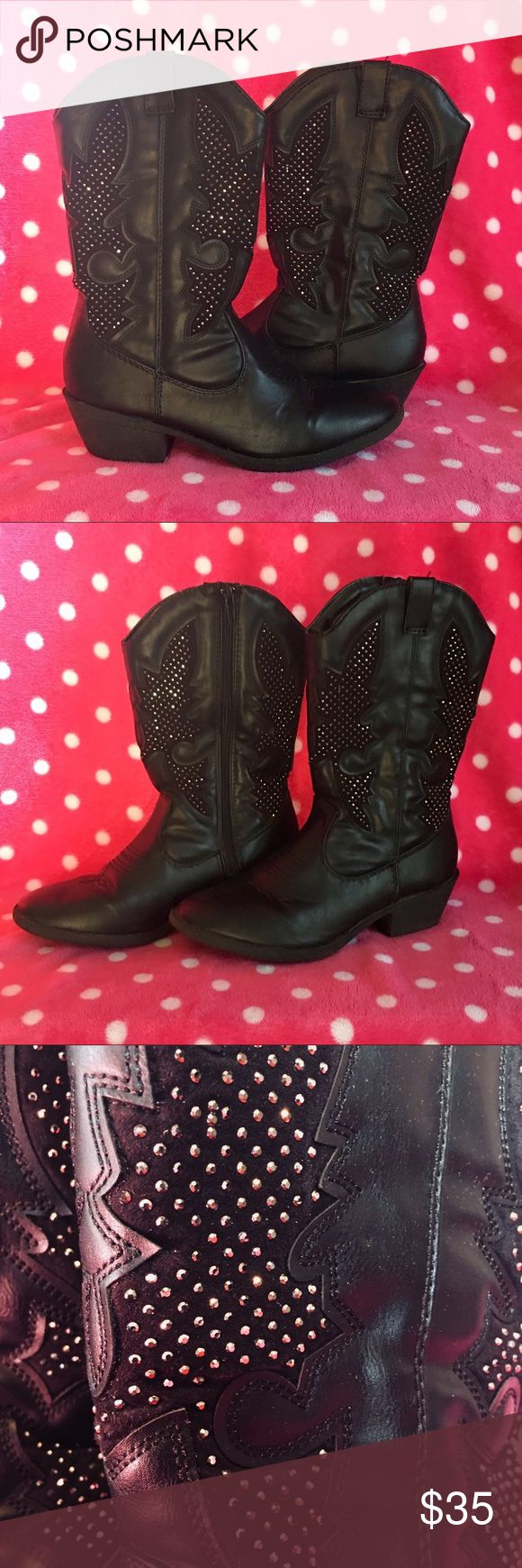 Ladies black cowboy boots from Justice, size 7 The ladies black cowboy boots are size 7, from Justice, full zip on the inside of the leg, in excellent condition, and loaded with rhinestones for extra added ✨BLING✨ Justice Shoes Combat & Moto Boots