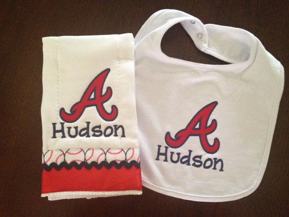 Custom Embroidered/Personalized Atlanta Braves Burp Cloth and Bib by myellabellas, $20.00